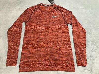 d77b729b7 Nike DriFit Knit Long Sleeve Running Sz Medium M Orange 833565-653 NWT