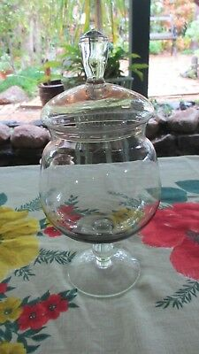 Vintage Glass  Apothecary lolly,cotton wool Jar on stem with Lid