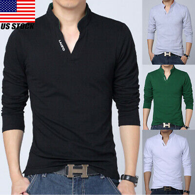 Mens Polo T Shirt Long Sleeve Cotton Shirts Casual Breathable Soft V Neck Tops