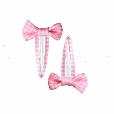 2 Girls Gingham Check Bow Sleepies Pink 5cm Back to School