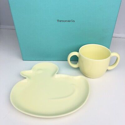 TIFFANY & Co TOTS Baby Yellow Duck PLATE & CUP SET Rare 2005 Toddler New In BOX