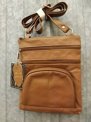 NEW Handcrafted Light Brown Real Leather Multi Pocket Crossbody Organizer Purse