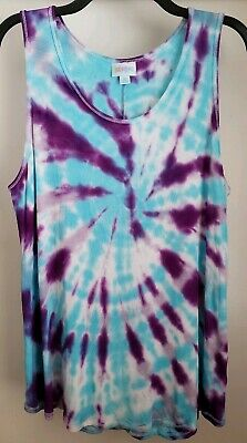 053f318b81710 Custom Tie Dye LuLaRoe Tank Top XL Multicolor Spiral    ONE OF A KIND