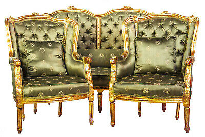 Antique Louis XVI Gilt Wood Sofa And 2 Arm Chairs Set Gold High Back