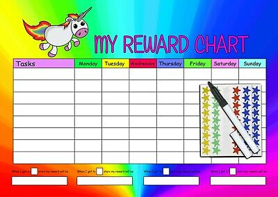 Pen BLUE PINK /… Happy Learners Personalised Childrens PINK UNICORN Reward Chart /& 90 Star Stickers
