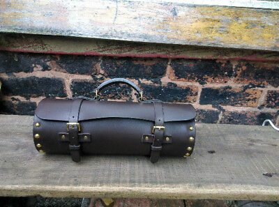crown green bowls bag real leather solid brass fittings - takes 2 bowls and jack