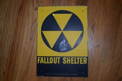 Vintage Cold War Era Collectible AUTHENTIC Fallout Shelter DoD Sign Tin RARE 14""