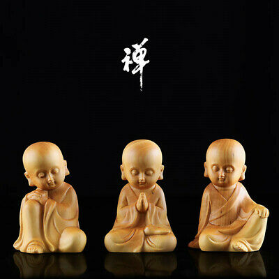 China Exquisite Boxwood Hand Engraving Young Buddhist Monk Statue  YM002