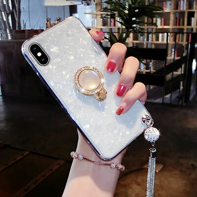 CHIC Bling Diamond Tassel With Ring Holder Case Cover For iPhone 6 6s 7 8 Plus X