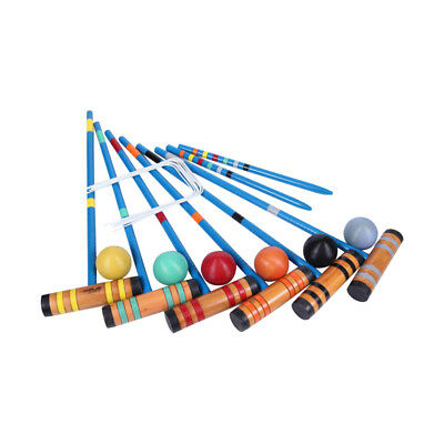 Party Game Set with Carry Bag 6 Mallets Balls 6 Players Wooden Croquet Outdoor