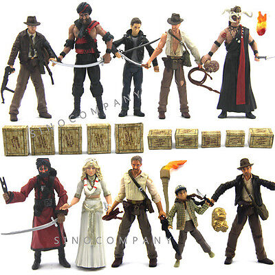 "Lot 10pcs INDIANA JONES Raiders of the Lost Ark 3.75"" Movies Toy Action Figure"