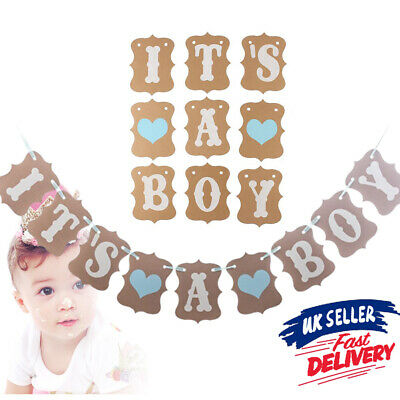 Baby Shower Party Personalised Rustic GIRL Bunting Banner Decoration Garland BOY