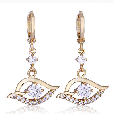 eedc3d6e2 Fashion Lucky Crystal Yellow Womens Gold Filled Evil Eye Dangle Hoop  Earrings