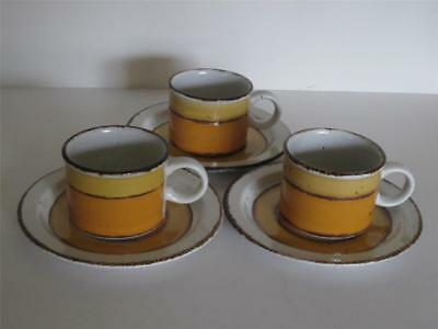 Mid Century Modern MIDWINTER SUN 3 Cups Matching Saucers Stonehenge England