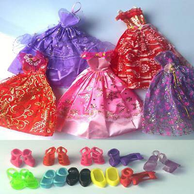 Toy Dress 5 Pcs/lots  Fashion Handmade Dresses & Clothes 10 Shoes For Doll Gift
