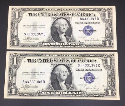 Consecutive Set 1935 One Dollar Silver Certificates Uncirculated