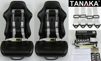 2X Tanaka Universal Gray 4 Pt Buckle Racing Seat Belt Harness Fits Polaris Utv