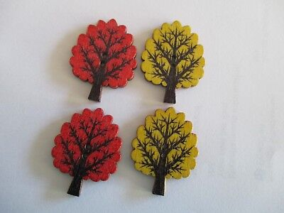 4 of  30mm x 25mm Wooden TREE BUTTONS - Mixed Col  Sewing or Scrapbooking No1313
