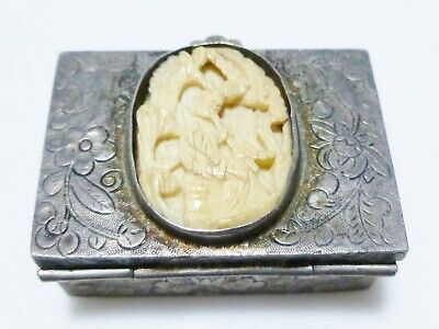 Chinese Export Sterling Silver Floral Flower Carved Trinket Pill Snuff Box