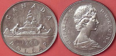 Brilliant Uncirculated 1968 Canada Large Island 1 Dollar From Mint's Roll