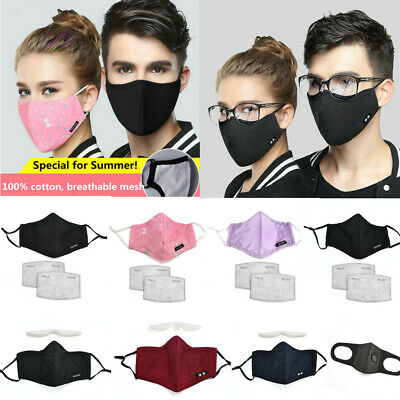 Washable Cotton Face Mouth Mask Anti-Dust Pollution Filter Respirator Thin