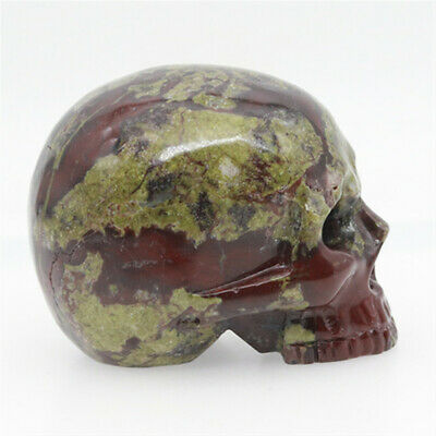 red dragon bloodstone jade hand carved skull,realistic,crystal healing K383