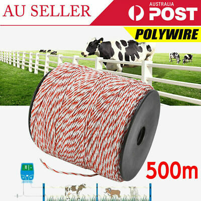 TOP 500m Roll Polywire for Electric Fence Fencing Stainless Steel Poly Wire AU