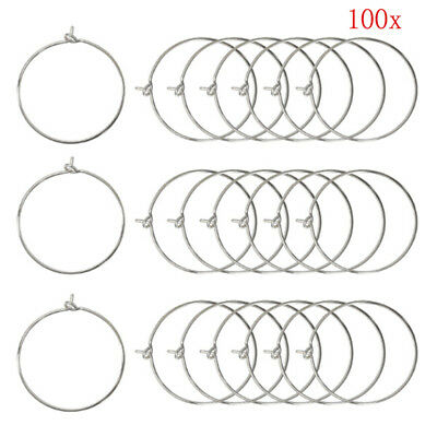 100pcs Silver Gold Plated Wine Glass Charm Rings Earring Hoops Wedding Party