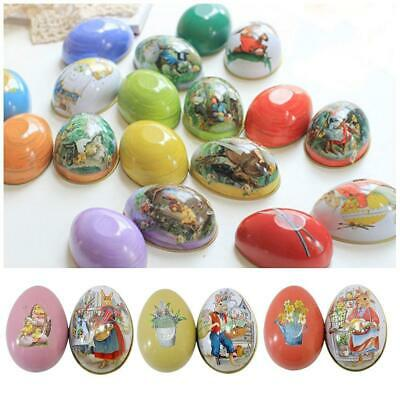 Easter Tins Egg Shaped Rabbit Candy Gifts Box Storage Decoration Packaging Eggs
