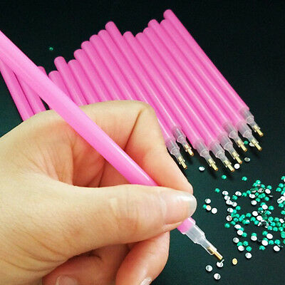 10 Pcs Dotting Pens Nail Art Painting Dot Tools Set Acrylic RhinestoneSw