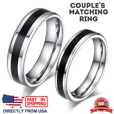 Couple's Matching Ring, His or Hers Stainless Steel Comfort Fit Wedding Band