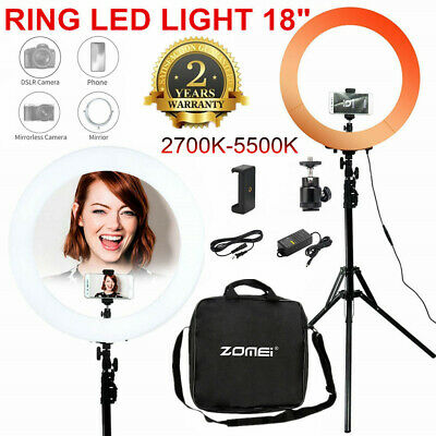 "18"" Dimmable LED Selfie Ring Light with Stand for Makeup Youtube Live Studio"