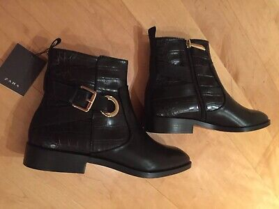 332e4b3d30590 ZARA BLACK FLAT Ankle Boots Croc Embossed Detail Gold Buckle, Size 7-BNWT