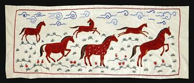 Unusual Uzbek Silk Hand-Embroidery Suzani With Mythical Stallion A12208
