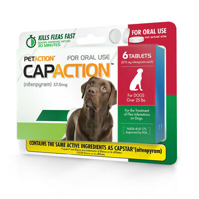 CapAction Fast Acting Flea Treatment for Large Dogs 6 Tablets Anti Flea Allergy