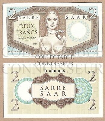2 Francs Mark 2015 Saar France Germany UNC SPECIMEN Banknote - Brigitte Bardot