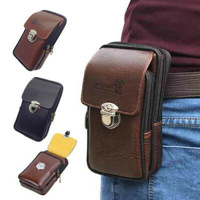 Outdoor Pouch Faux Leather Zipper Tactical 1Pcs Mini Men Waist Bag Security Pack