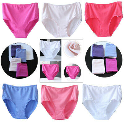 b229c10e1b23 5 Pack Ladies Womens 100%Cotton Midi Briefs Pants Knickers Underwear Size  L~3Xl