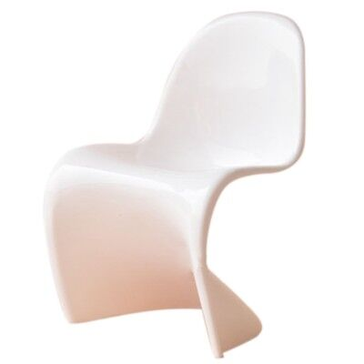 "1/6 Dollhouse Miniature Furniture Plastic ""S"" Shape White Chair White Y5T2"