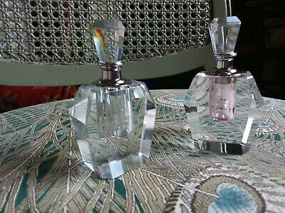 Antique Art Deco Lead Crystal Perfume Bottles A Pair Heavyweight Prism Rainbows