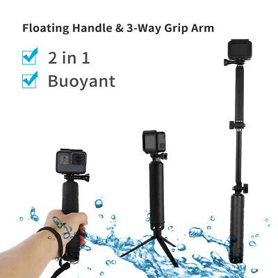 TELESIN Waterproof 3-Way Selfie Stick Floating Hand Grip + Tripod for GoPro 7 6