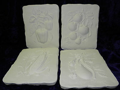 Ceramic Ready to paint 4 x Vegetable  Plaque 9 ""