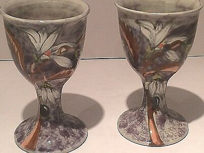 Pair Of Cobridge Stoneware Goblets/chalices, Lily Pattern.  1.st Quality