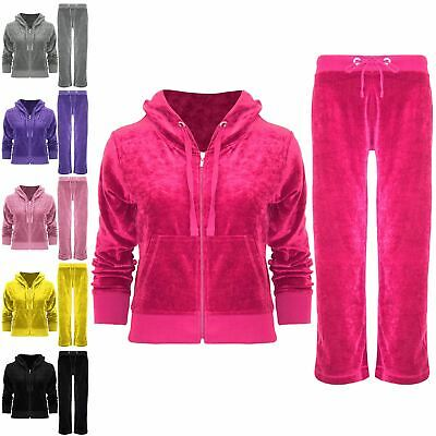 Kids Girls Velour Velvet Jogging Loungewear Hoodies Hooded 2PCS Tracksuit Set