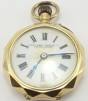 Small Antique 14 carat gold ladies Swiss fob watch. 28mm. In good working order.