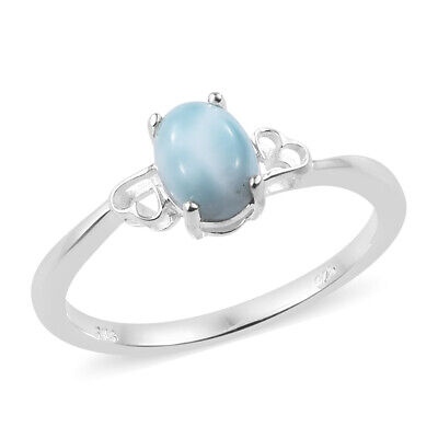 Girls 925 Sterling Silver Oval Larimar Statement Ring Jewelry Gift
