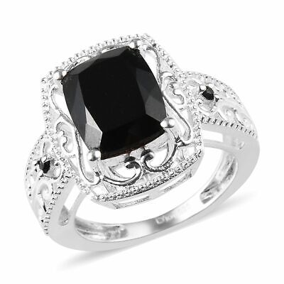 Black Tourmaline Spinel Sterling Silver Solitaire Bridal Engagement Ring