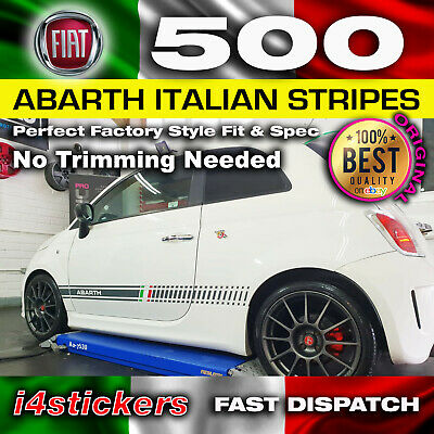 Fiat 500 Abarth Style side stripes correct size & shape with Italian Flag Detail