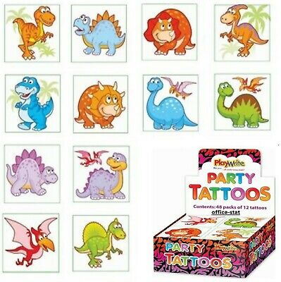 DINOSAUR Tattoos Party Bag Fillers Temporary Tattoos Kids Parties Favour Loot