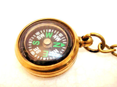 Brass COMPASS Key Chain- Collectible Marine Nautical Key Ring (20)